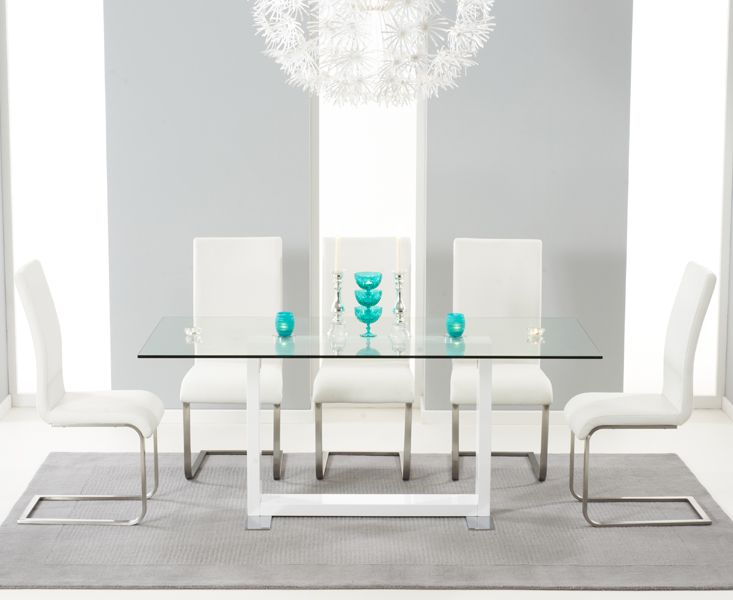 Dining Room Furniture San Diego San Diego 180Cm Glass And White High Gloss Table With Malaga