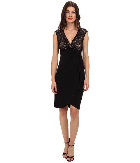 London Times Lace And Jersey Tulip Skirt Sheath Dress Black/Nude - 6pm.com