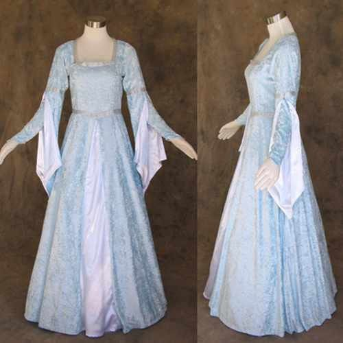 Medieval Renaissance Light Blue And White Gown Dress