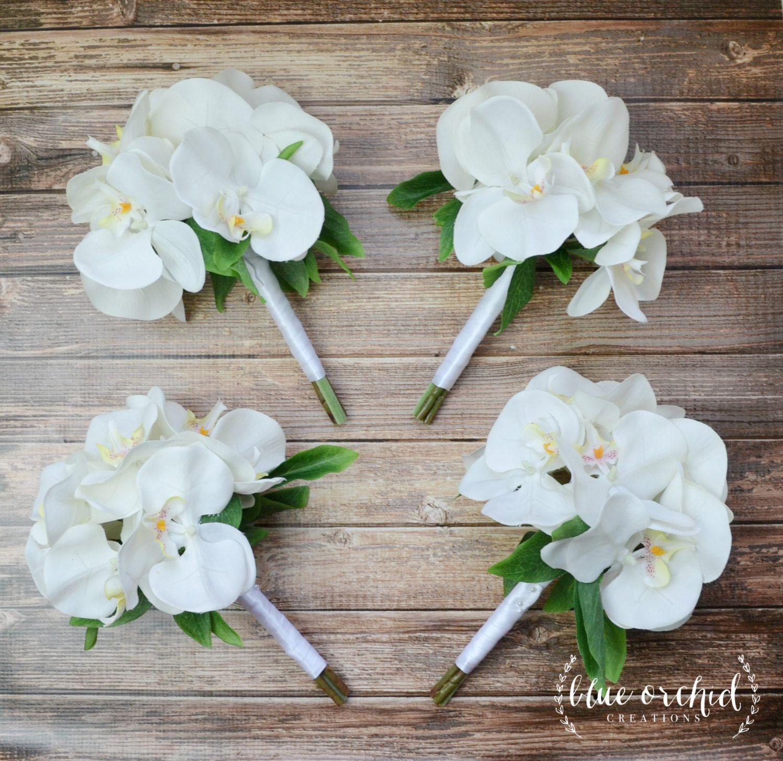 White Orchid Bridesmaid Bouquets Perfect For Tropical Beach Or Destination Weddi Destination Wedding Flowers Bridesmaid Bouquet White Flower Bouquet Wedding