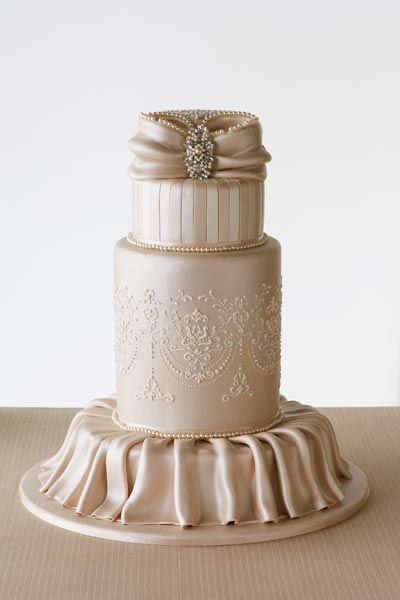 Inject A Little Once Into Your Vintage Theme With This Champagne Coloured Cake From Celebration Cakes