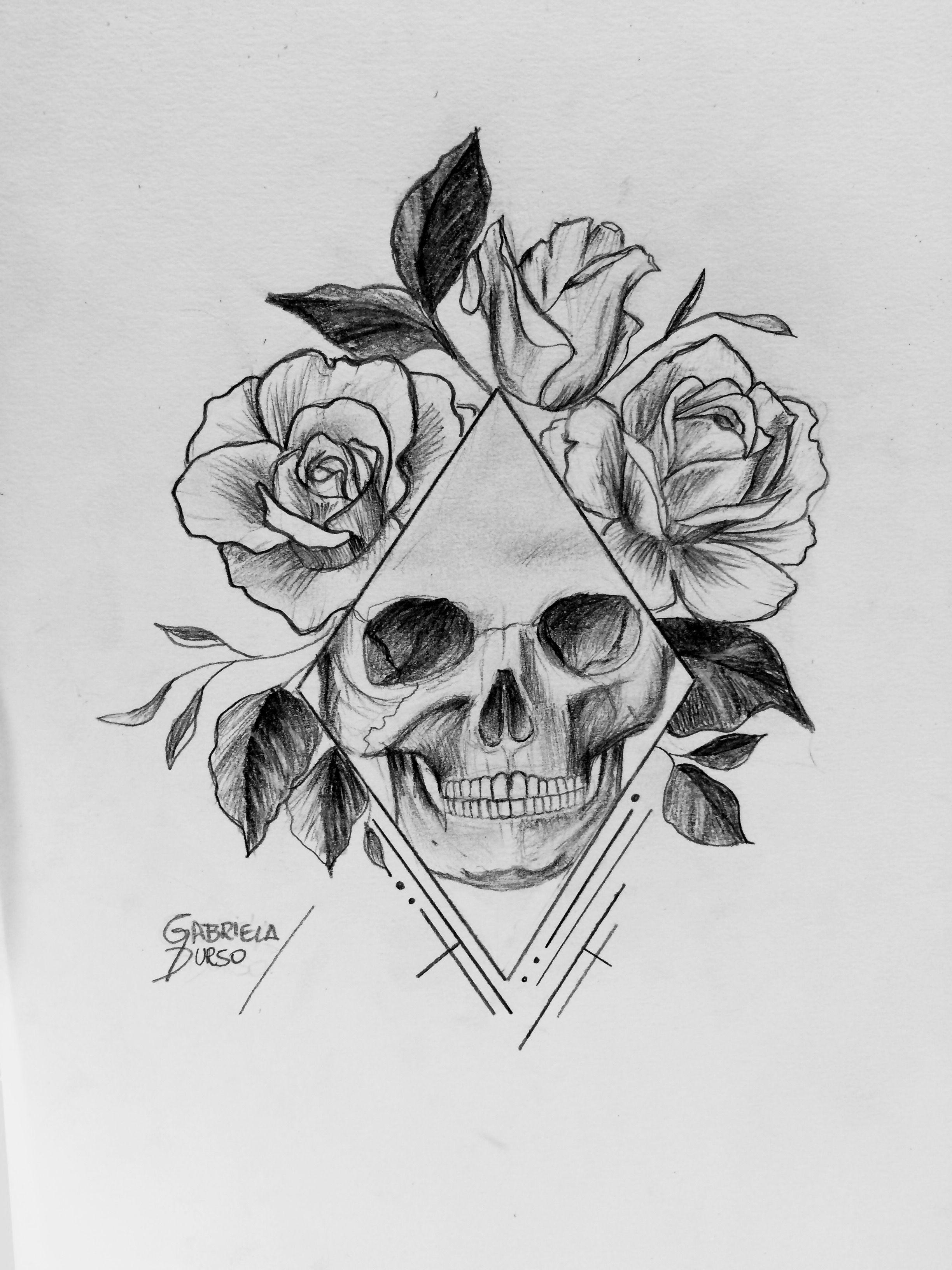 Desenho De Caveira Com Rosas Feito Por Gabriela Durso Desenho