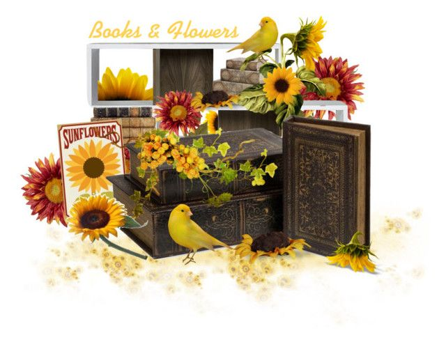 """Books & Flowers Contest"" by neicy-i ❤ liked on Polyvore featuring art, Flowers, books and sunflowers"