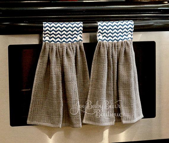 Listing For 2 Blue Chevron Hanging Kitchen Towels Freshen