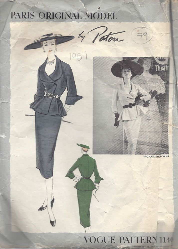 1951 Vintage VOGUE Sewing Pattern B30\