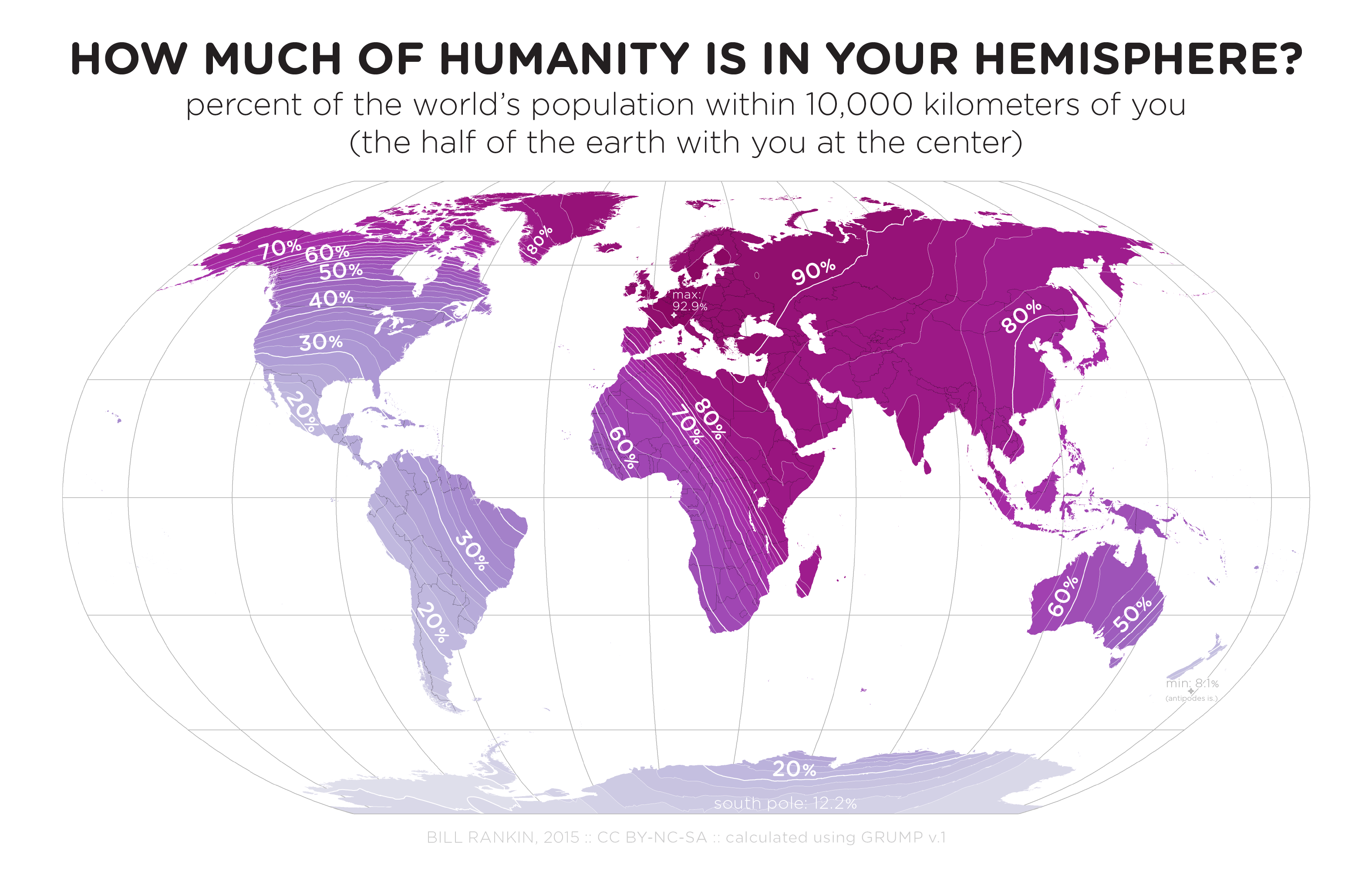 the map above shows what percentage of humans living on earth live within km of you or to put it a slightly different way how many people live on your