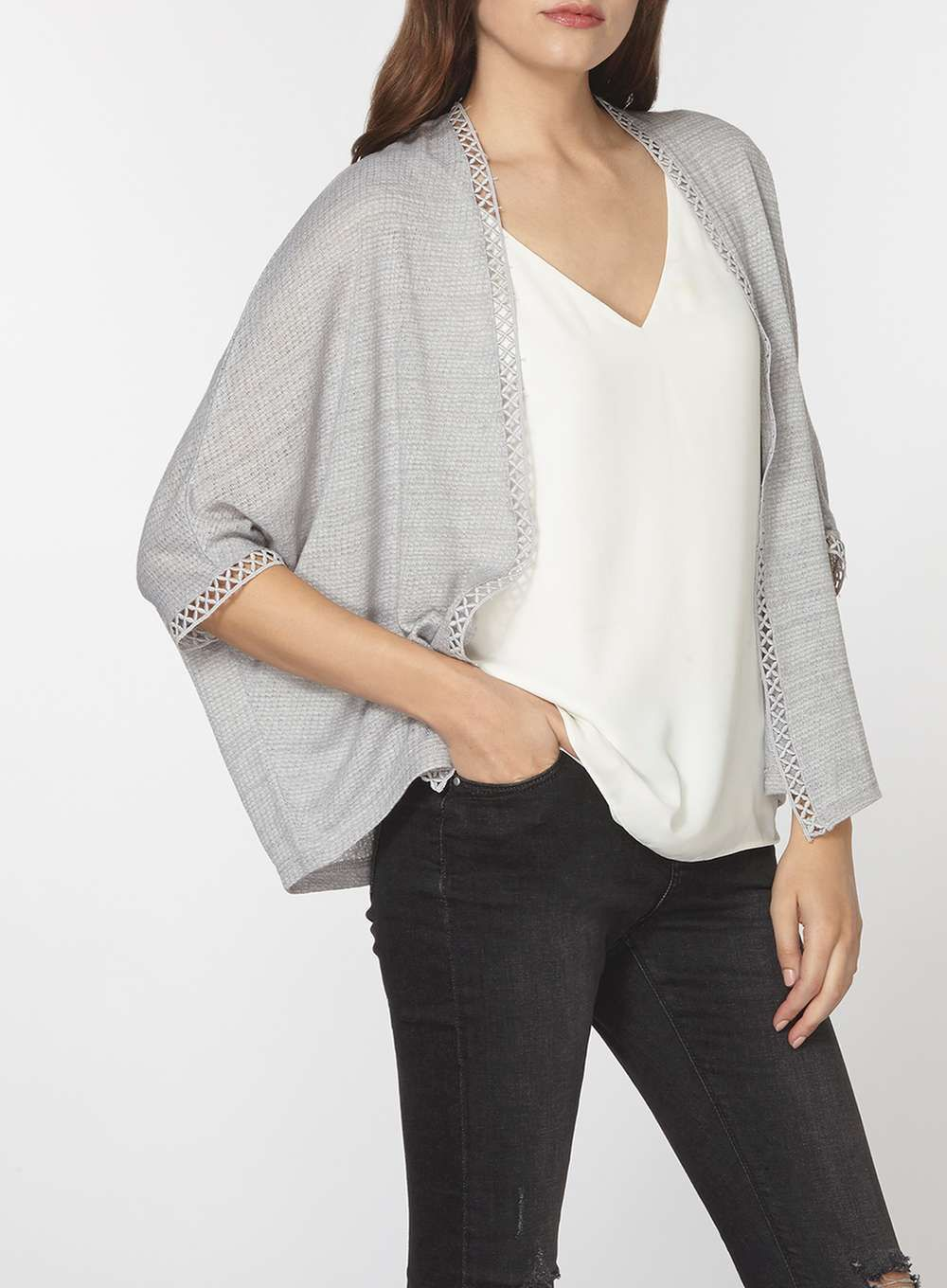 Grey geo lace trim cardigan - Sweaters - Clothing | Grey, Products ...