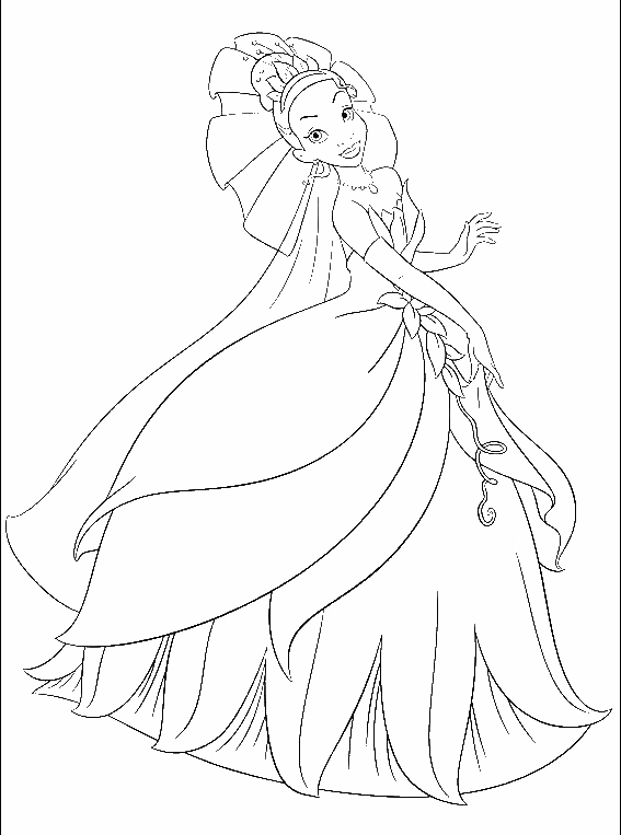 Tiana the princess coloring page - Princess and the Frog coloring ... | 763x567