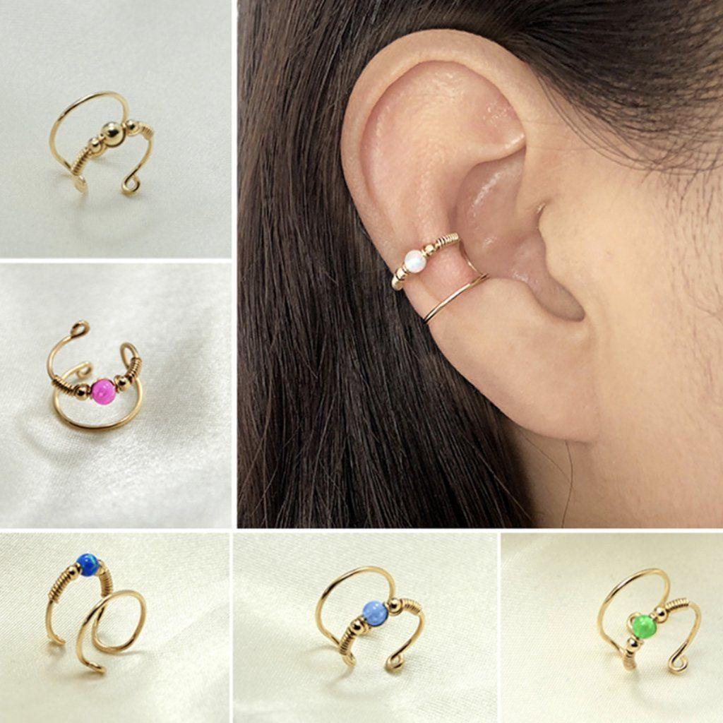 Simple Minimalist Conch Ear Piercing Jewelry Ideas Opal Wired Gold Ear Cuff Earr  Simple Minimalist Conch Ear Piercing Jewelry Ideas Opal Wired Gold Ear Cuff Earring  lin...