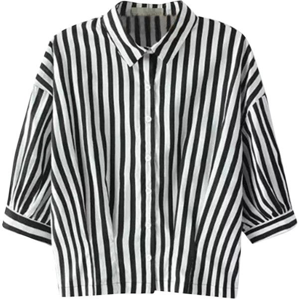 f1a521def0630e Relaxfeel Women's Black And White Middle Sleeve Collar Striped Shirt ($18)  ❤ liked on Polyvore featuring tops, shirts, blouses, chemise, black, stripe  top, ...
