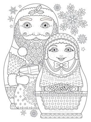 Santa And Mrs Claus Nesting Dolls Coloring Page By