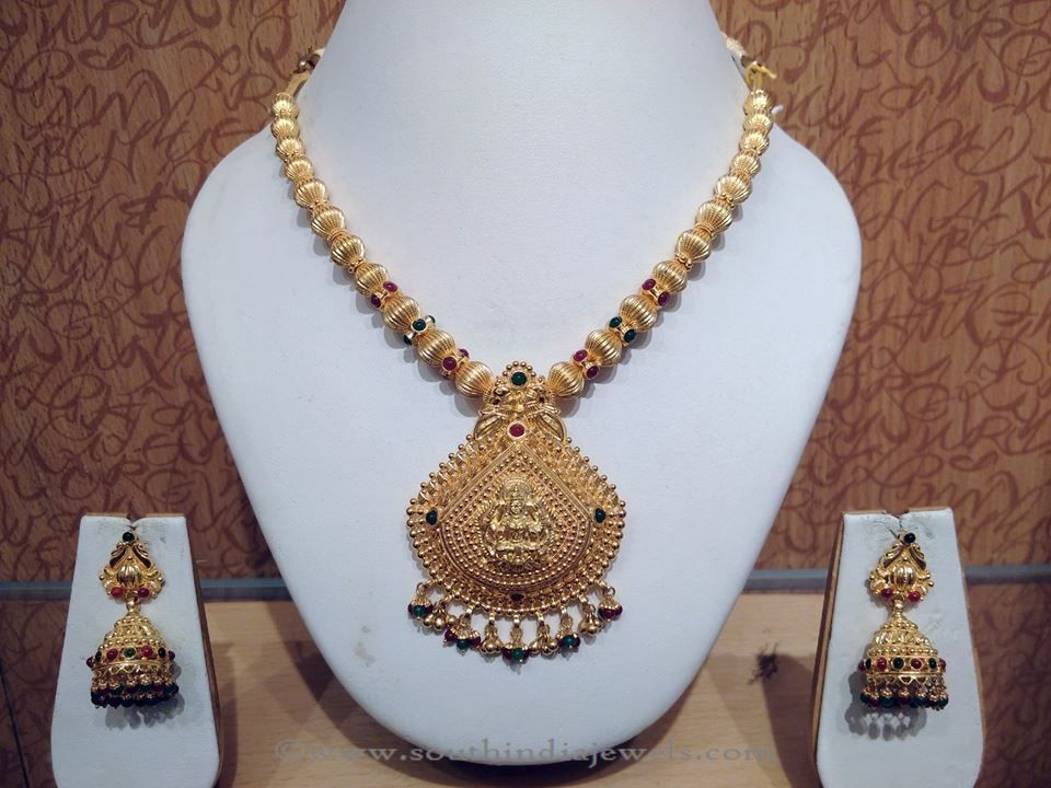 Light Weight Gold Temple Jewellery Necklace | Temple, Uncut ...