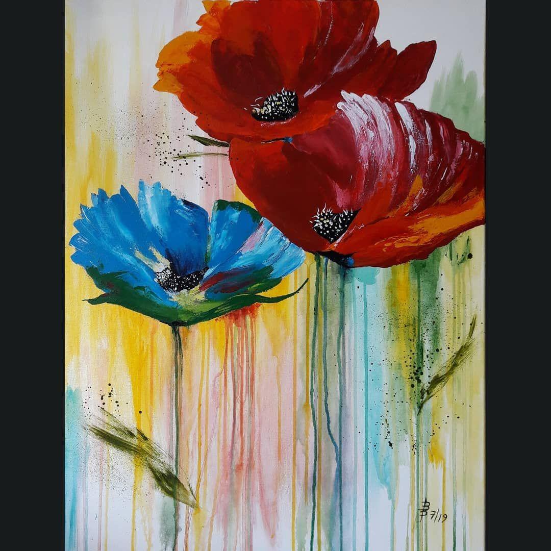 Acryl Abstraktekunst Spachteln Malen Hobby Mohnblumen Schmincke Farbexplosion Painting Colours Flowers Artworks Painting Art