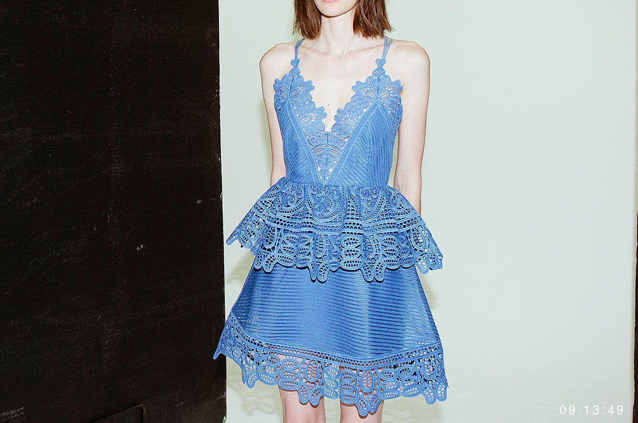 6b809a833ed4a Self-Portrait lace trimmed peplum dress in cornflower blue ($445.00 ...