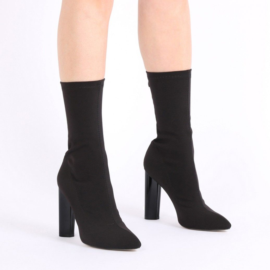 8788d0f513955 Cayden Heeled Sock Boots in Black Stretch in 2019 | S H O E S ...