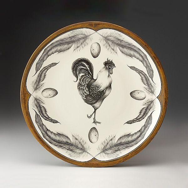 Rooster Large Round Platter: Laura Zindel: Ceramic Platter - Artful Home