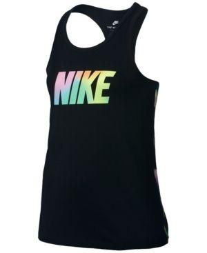 4145c331 Nike Graphic-Print Sportswear Cotton Tank Top, Big Girls (7-16) - Black XL