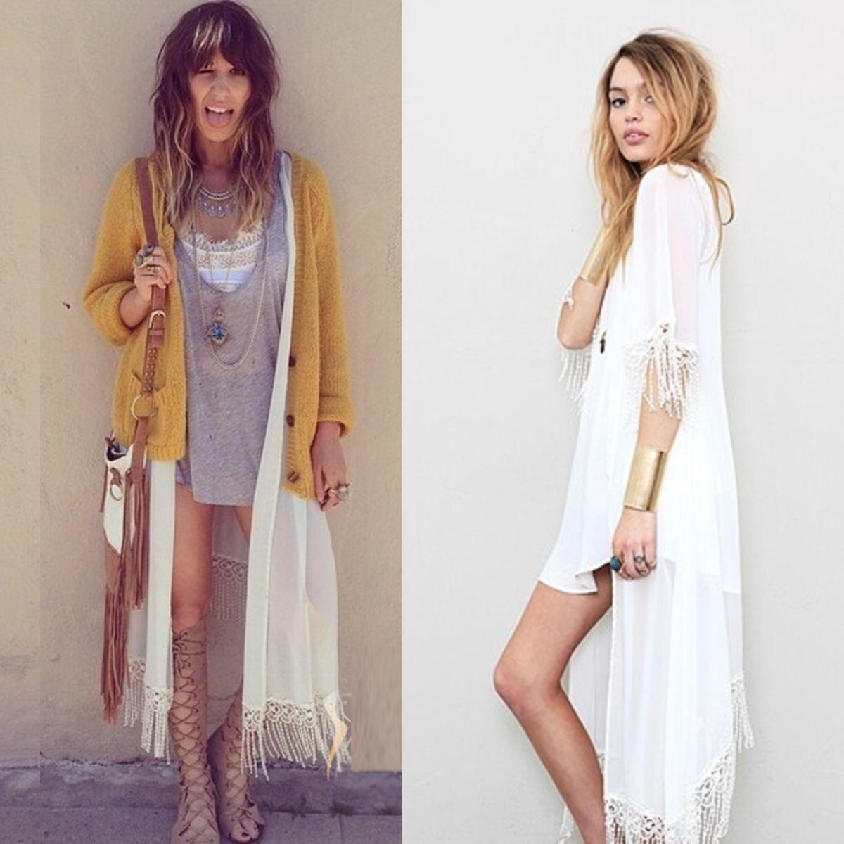 Women Kimono Jacket Chiffon Cardigan White Long Top Blouse Beach ...
