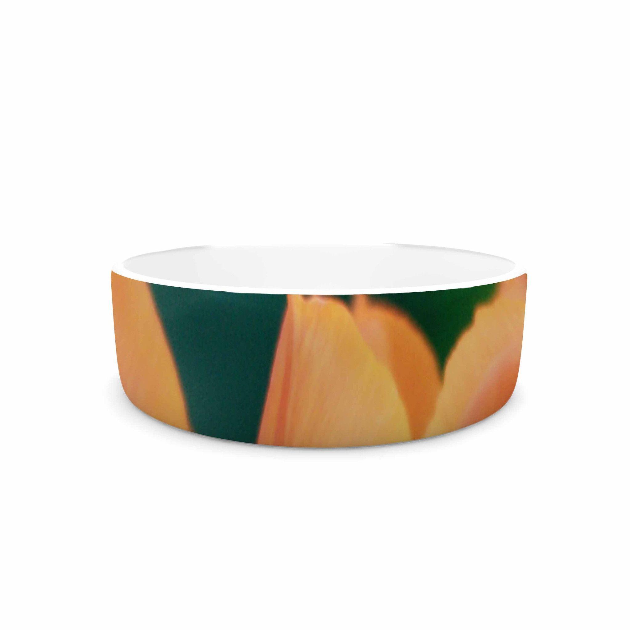 """Angie Turner """"Orange Tulip """" Orange Green Pet Bowl"""