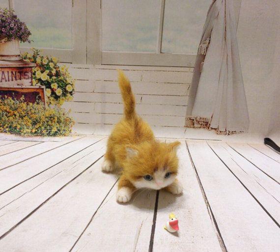 Needle felt - Needle felted cat - Needle felting cat - Handmade cat - Great gift - cat miniature - cat - Kitten (Made To Order)