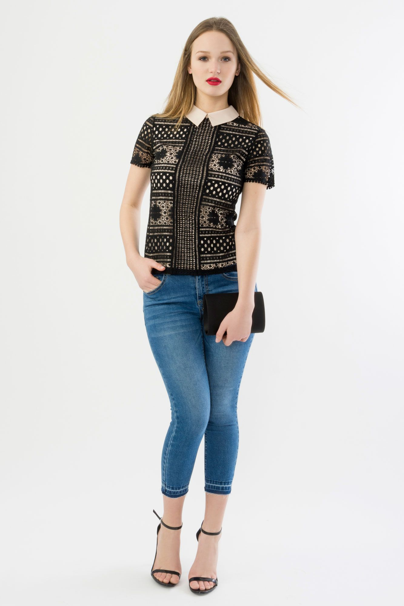 Suzy Shier Lace Top with Contrast Collar