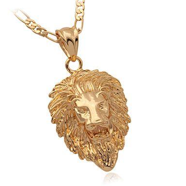 U7 fresco grande testa di leone medusa ciondolo oro 18k ha placcato la collana grosso con catena figaro 55 centimetri - EUR € 7.26