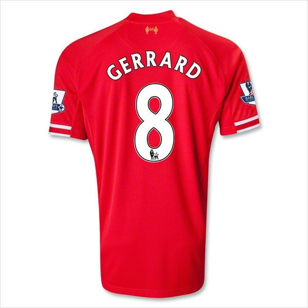 35f9ebe09bc47 Mens 2013 14 Liverpool FC Steven Gerrard 8 Red Home Soccer Jersey ...
