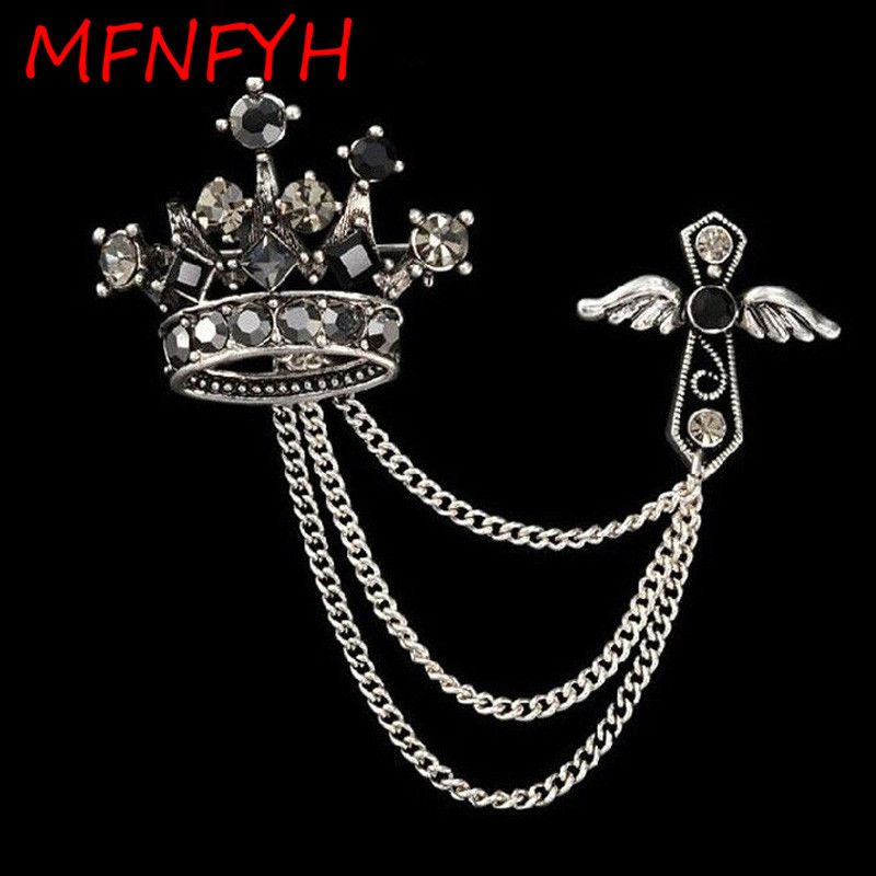 MFNFYH Vintage Men Lapel Collar Pin Rhinestone Brooch Scarf Clip Mens Suit  Cheap Crown Broche Male 8f998f628820