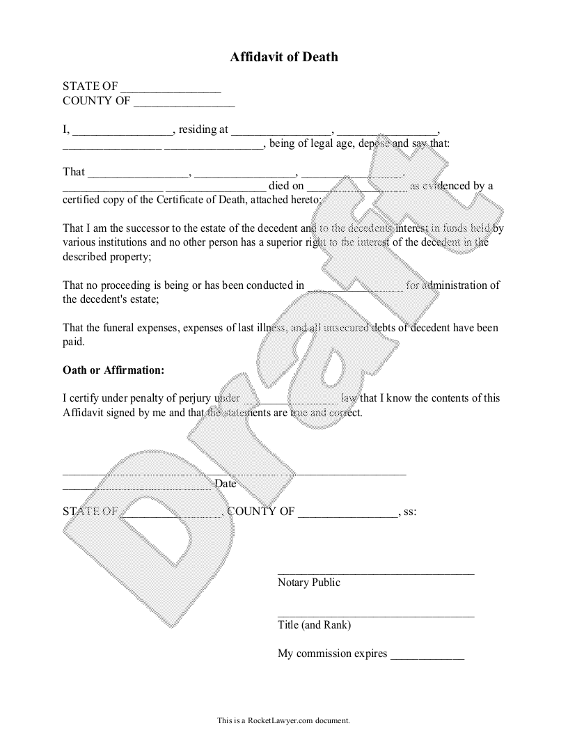 Sample Affidavit of Death Form Template – Printable Affidavit Form