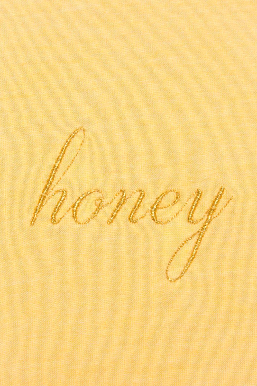 brandy melville yellow crewneck Aleena honey embroidery graphic top S//M