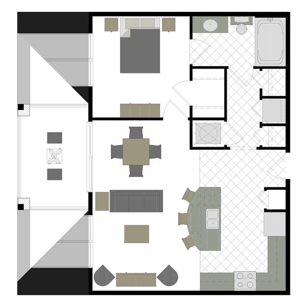 The Madison 1 bedroom, 1 bathroom Floor plans