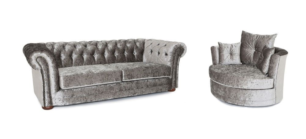 Chesterfield 3 + swivel cuddle chair sofa set in silver crushed ...
