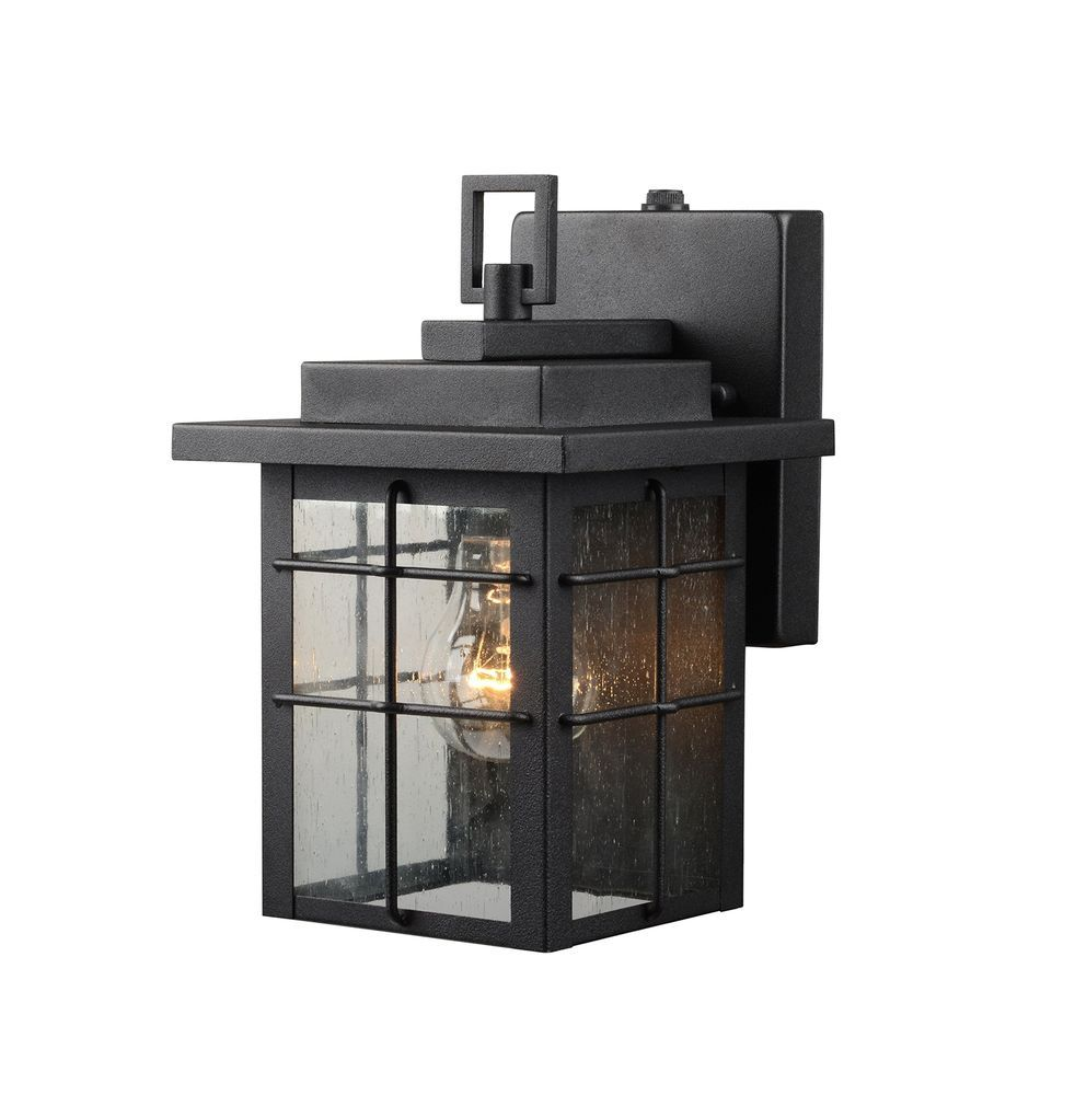 1 light outdoor wall lantern w photo cell dusk to dawn sensor square