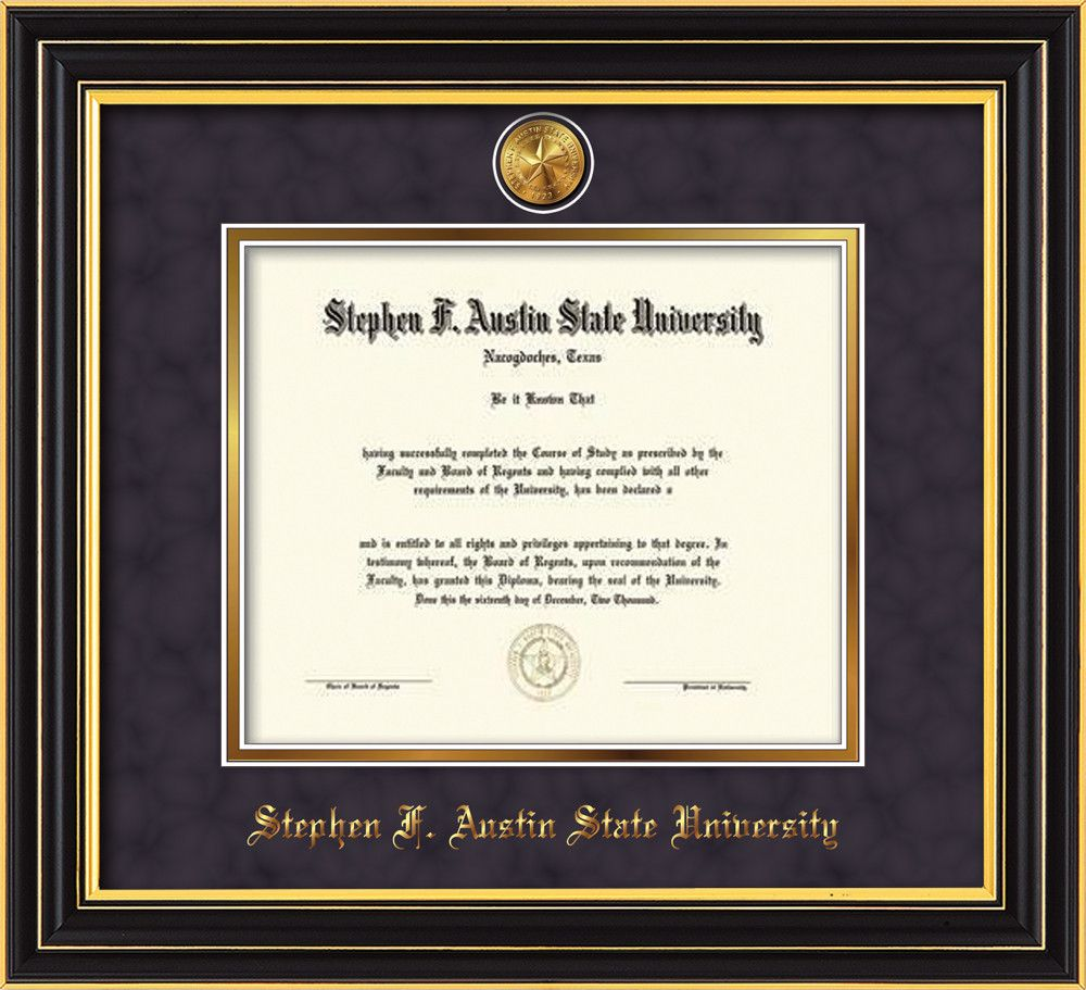 Stephen. F Austin Diploma Frame-S Black-Medallion-Purple Suede/Gold ...