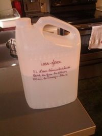 Bidon avec recette de Lave-glace écrite dessus