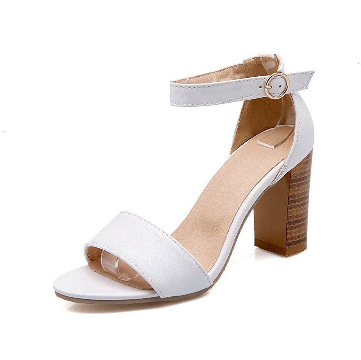 Women's Open Toe Buckle Pu Solid High Heels Heeled-Sandals