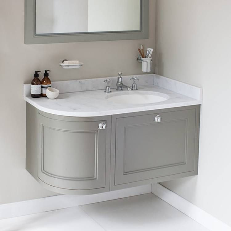Burlington Olive 1000mm Wall Hung Curved Vanity Unit Worktop Basin Right Hand Modern Bathroom Vanity Corner Bathroom Vanity Bathroom Vanity Units
