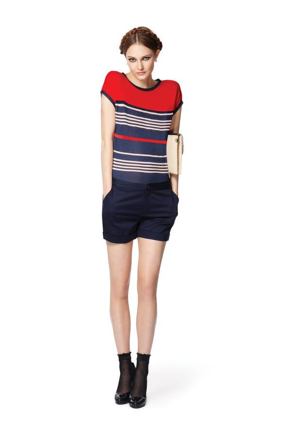 Look 11: Short-Sleeved Tee in Navy/Red Stripes, $ 19.99 Cuffed Shorts in Admiral Blue, $26.99 (Available at Target.com only) Straw and Canvas Clutch in Cream, $29.99