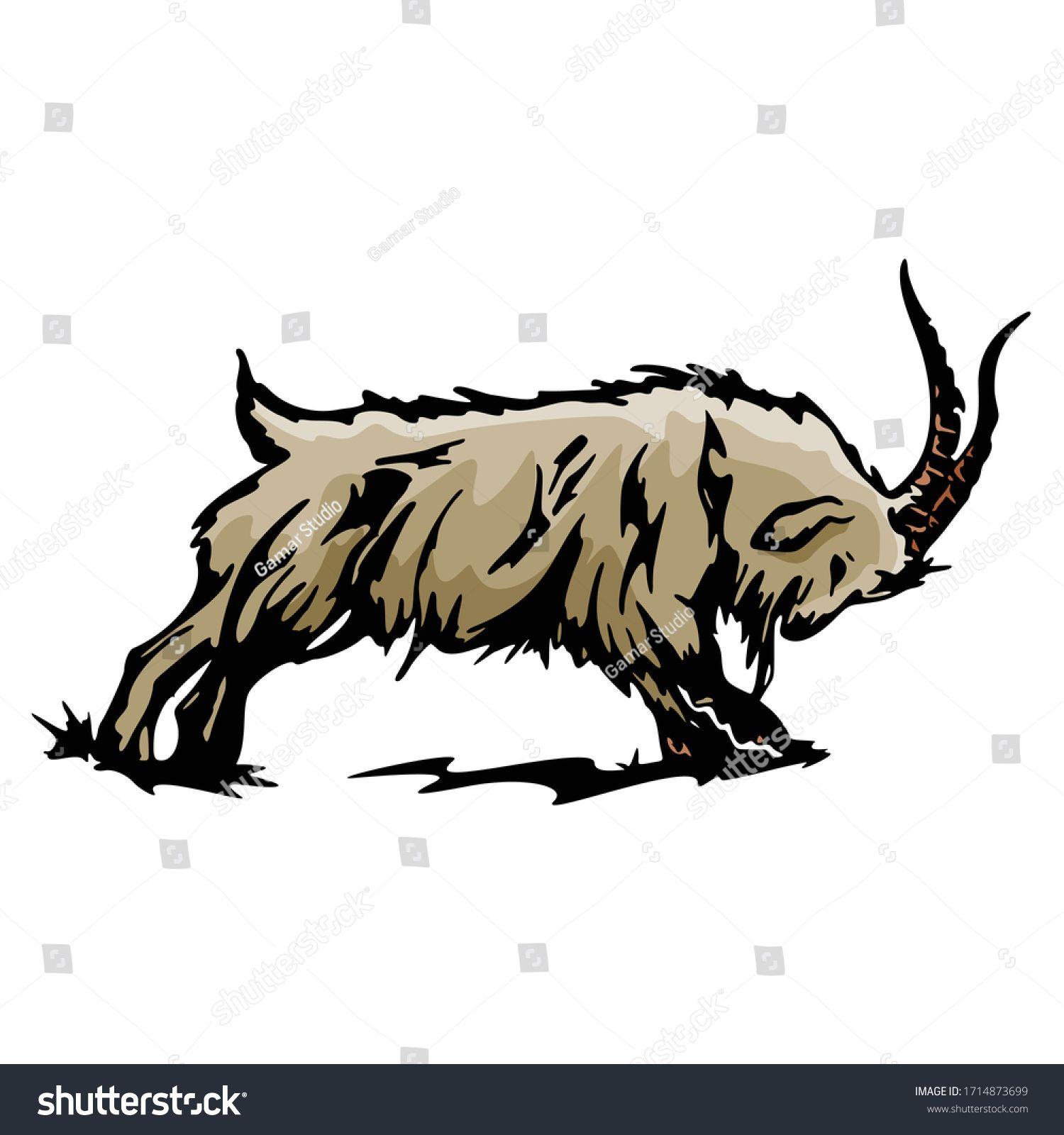 Cartoon Goatsheep Animal Vector Illustration Template