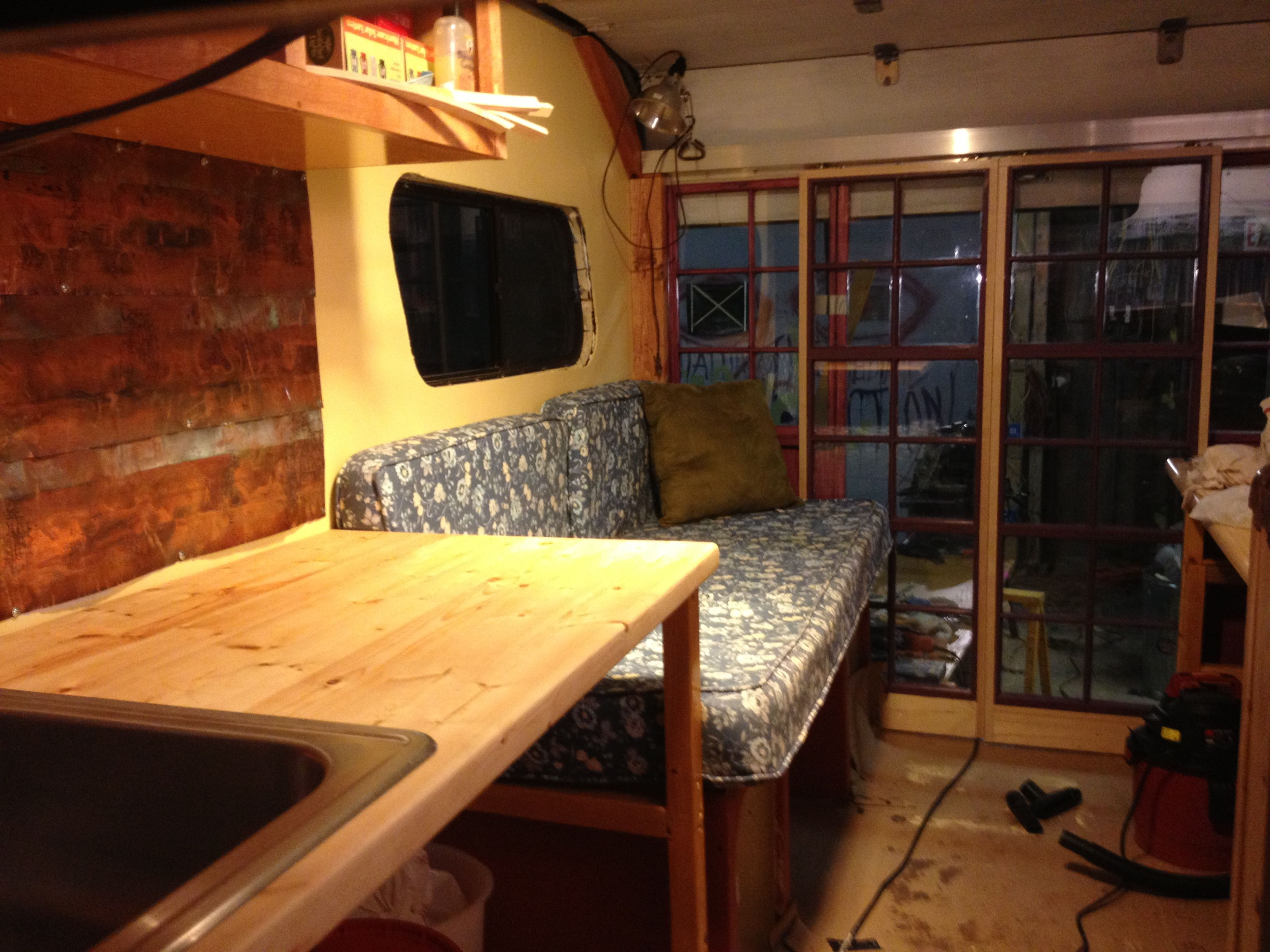 Uhaul conversion with kitchen bath couch sleeping loft in