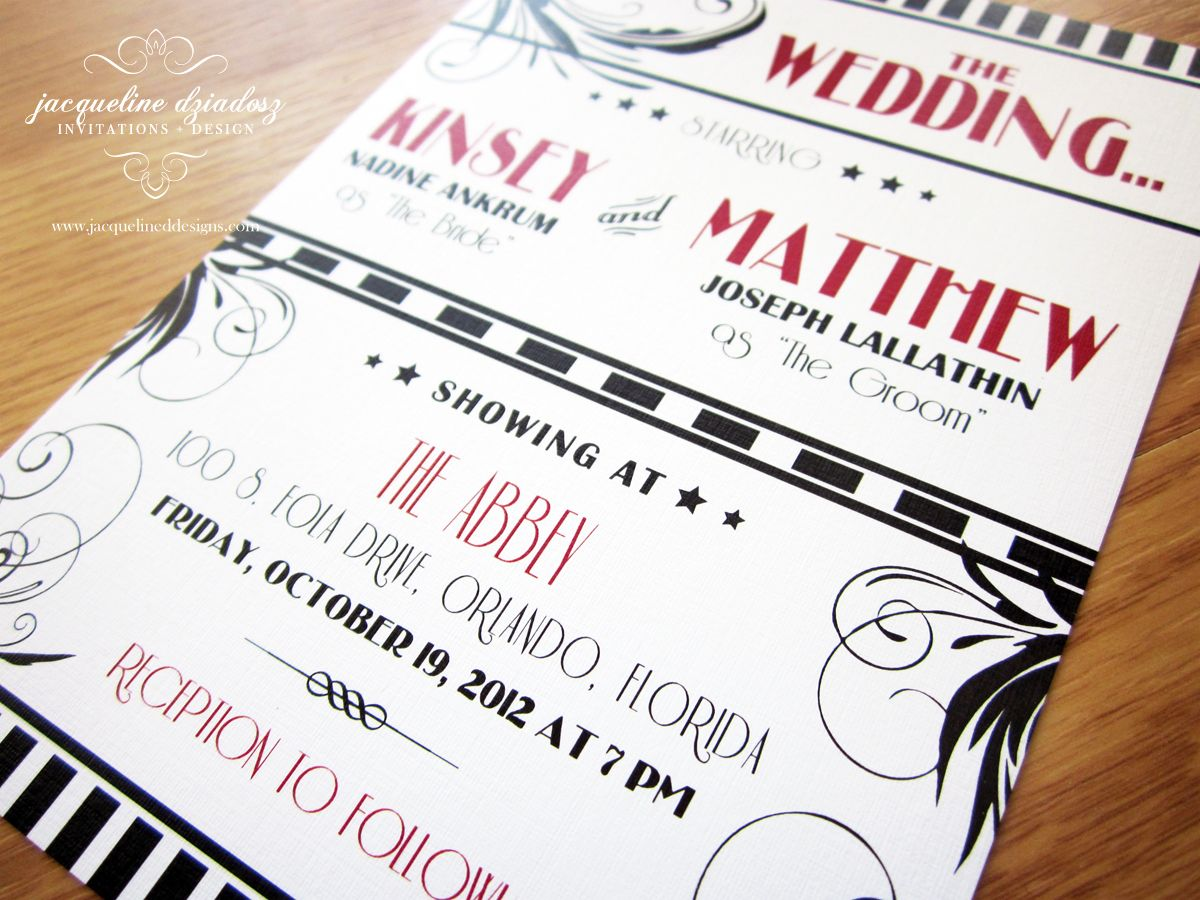 great idea to make your wedding invitations like a movie ticket - Movie Ticket Wedding Invitations