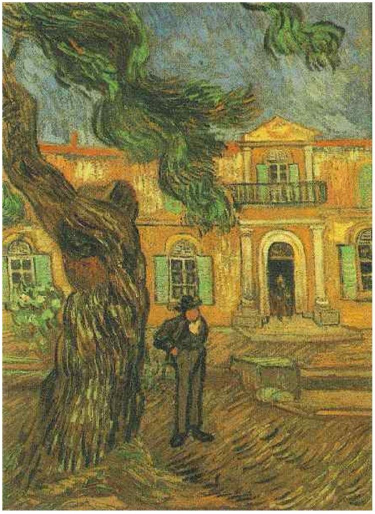 Pine trees with Figure int he Garden of Saint-Paul Hospital ~    Painting, Oil on Canvas  Saint-Rémy: November, 1889  Musée d'Orsay  Paris, France, Europe  F:653,JH:1840