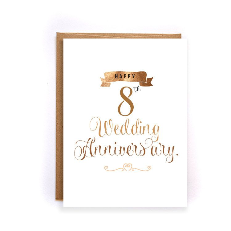 Gift Ideas For 8th Wedding Anniversary: 8th Anniversary Cards For Her, Bronze Anniversary Card