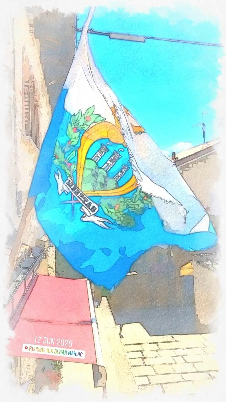 The flag of #SanMarino blows wildly in wind 🇸🇲