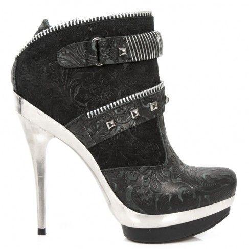 PUNK082 Punk C2 Spikes Noires Vintage New Chaussures M à Flower 08p6pxn