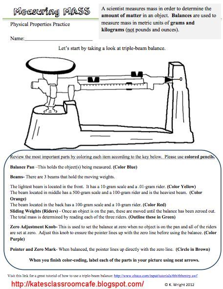 Triple Beam Balance Worksheet Problems Science Classroom Cafe Measuring Mass Worksheet And Flipchart Freebie Science Tools Measuring Mass Science Skills