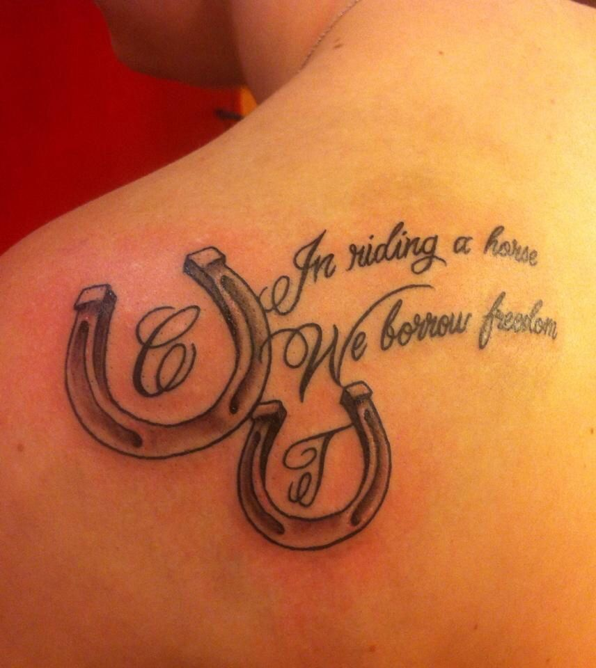 horse shoes and saying tattoo shoulder tattoo body art