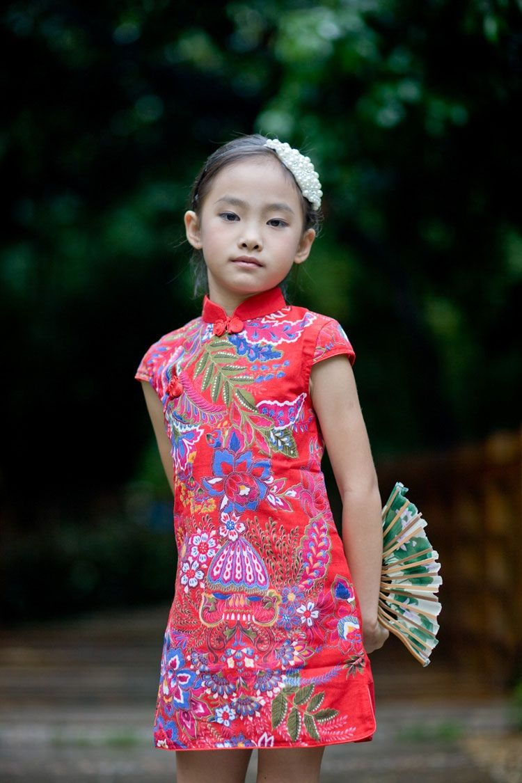 Girls Chinese dress or cheongsam or qipao  Girls chinese dress