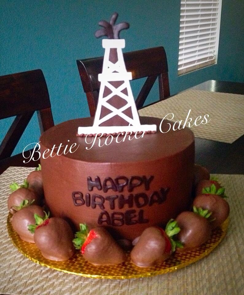 Chocolate Oil Rig Chocolate Covered Strawberries Birthday Cake