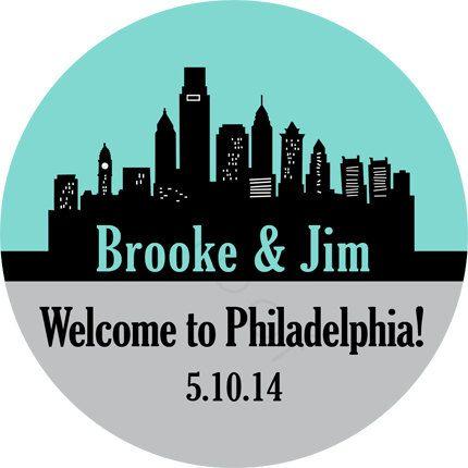 Custom wedding stickers philadelphia skyline personalized stickers wedding favor stickers envelope seals